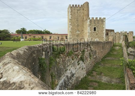 Exterior of the Ozama Fortress in Santo Domingo, Dominican Republic.