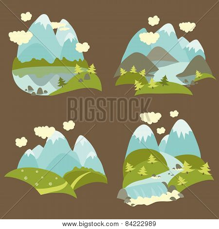 Mountain landscape icons set