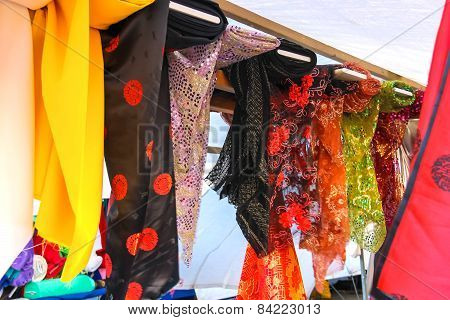 Souvenir Scarves On A Rack In Outdoor Sales