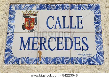 Exterior of the vintage street name sign in Santo Domingo, Dominican Republic.