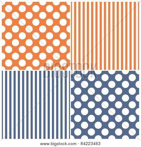 Tile vector pattern set with white polka dots and stripes