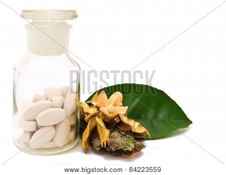 Pills and pharmacy bottle