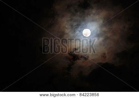 Blurred - Dark Stormy Sky With Moon
