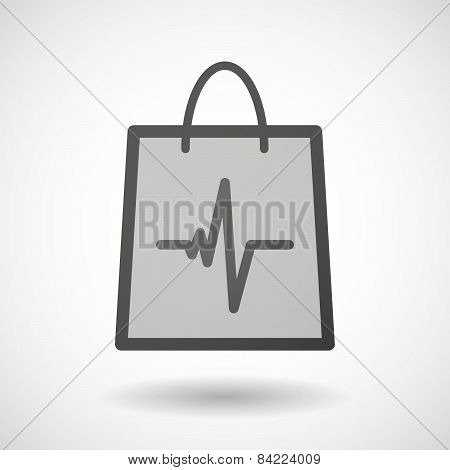 Shopping Bag Icon With A Heart Beat Sign