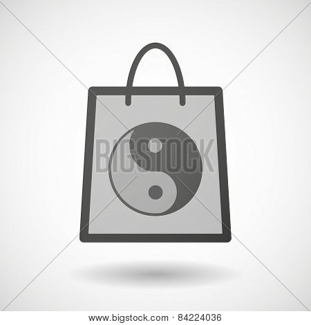 Shopping Bag Icon With A Ying Yang