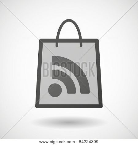 Shopping Bag Icon With A Rss Sign