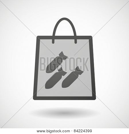 Shopping Bag Icon With Bombs