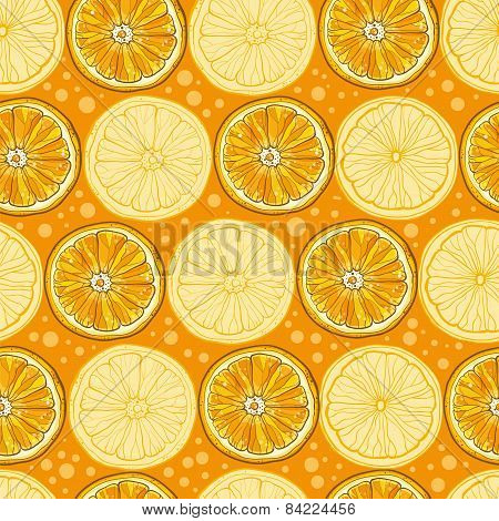 Seamless Vector Pattern With Citrus Fruits
