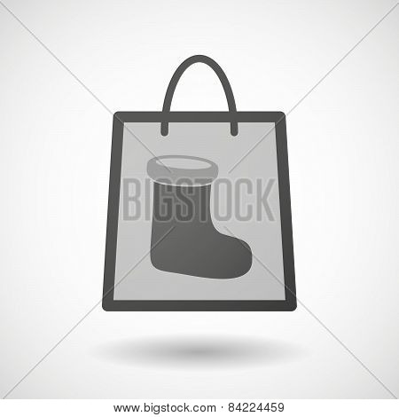 Shopping Bag Icon With A Christmas Sock