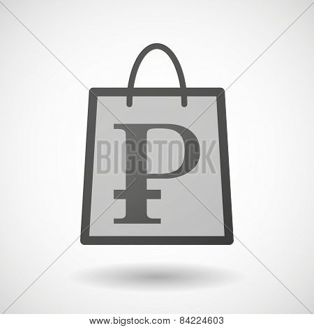 Shopping Bag Icon With A Ruble Sign