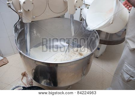Adding Water For Dough Bread