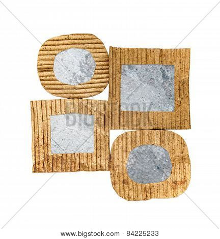 Group Of Blank Grunge Wall Cardboard Frames, Isolated On White Background
