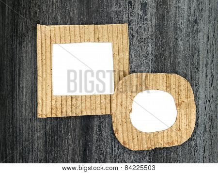 Two Blank Cardboard Frames On Grunge Painted Background