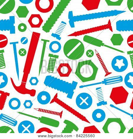 Hardware Screws And Nails With Tools Color Seamless Pattern Eps10