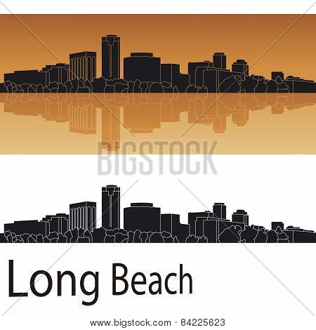 Long Beach Skyline In Orange Background