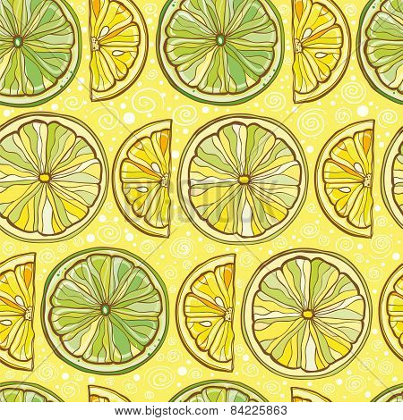 Seamless Vector Pattern With Lemon And Lime