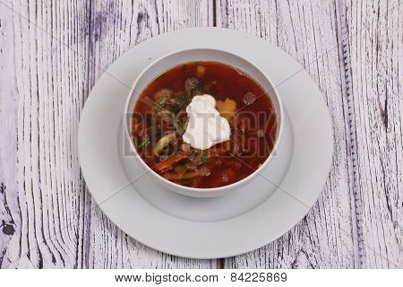 Vegetable Borsch With A String Bean Submitted With Sour Cream