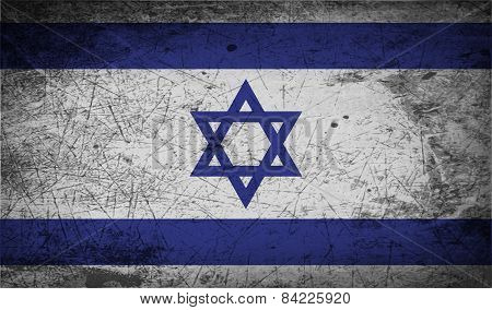 Flag Of Israe With Old Texture. Vector