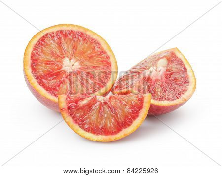 ripe blood red oranges sliced isolated on white