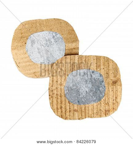 Two Blank Grunge Wall Cardboard Frames, Isolated On White Background