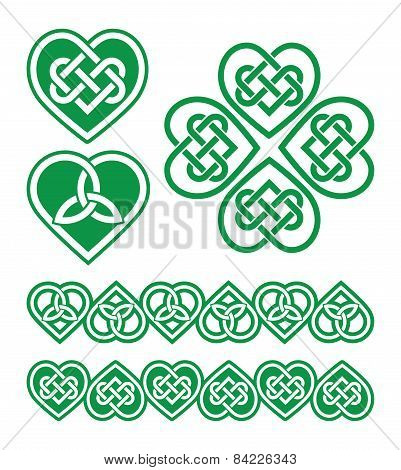 Irish, Scottish Celtic green heart vector pattern