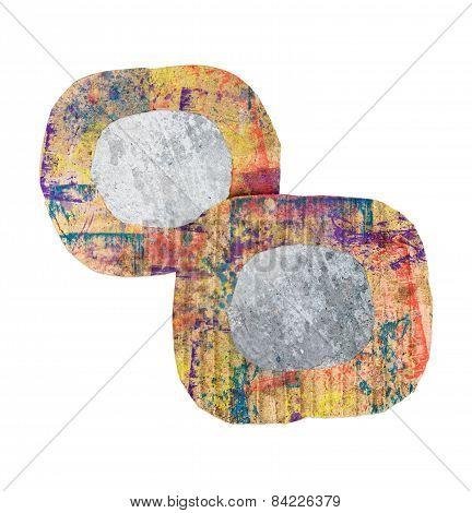 Two Blank Grunge Wall, Colorful Cardboard Frames, Isolated On White Background