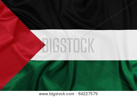 Palestine - Waving national flag on silk texture