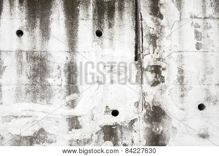 Old White Concrete Wall With Holes, Background Texture