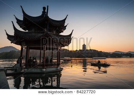 Traditional Chinese Ancient Pavilion On The West Lake