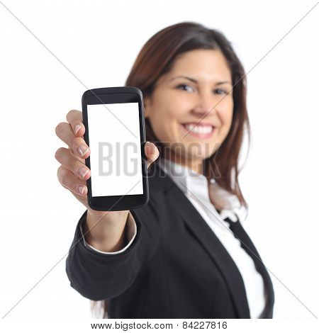 Businesswoman Showing A Blank Smart Phone Screen