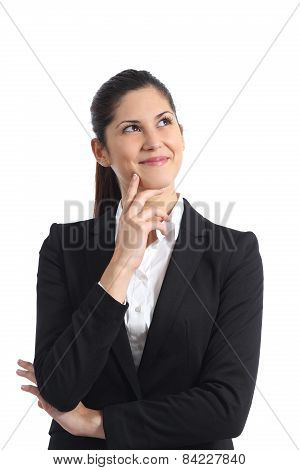 Businesswoman Thinking And Looking Sideways Isolated