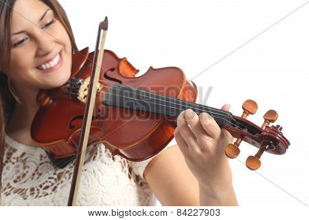 Happy Musician Playing Violin