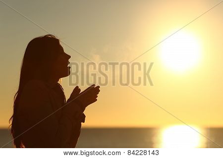 Woman Silhouette Breathing In A Cold Winter