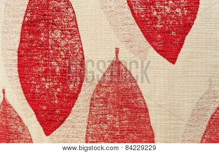 Red Leaf Chintz Cloth Texture
