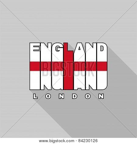 England Flag Typography, T-shirt Graphics