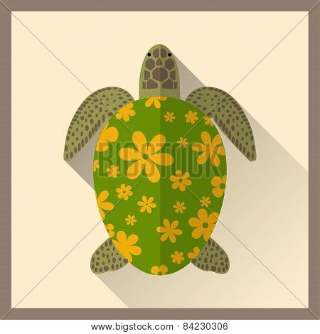 Turtle In Flat Style