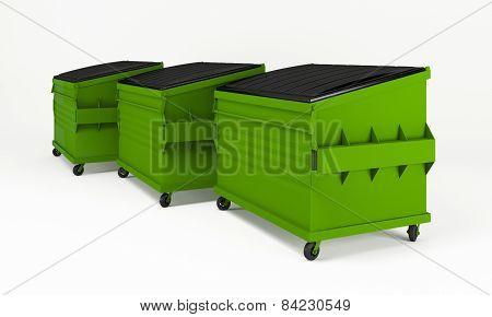 Realistic green trash boxes.