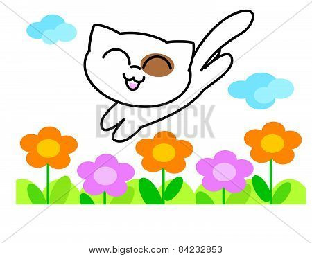 Vector cat with flowers