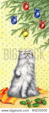 Cat and christmas tree artwork
