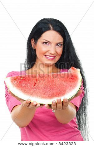 Beauty Woman Offering Watermelon