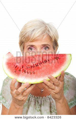 Senior Female Holding Watermelon