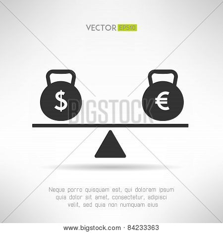 Euro and dollar equal on scales. Market balance and european economy crisis concept. Vector illustra