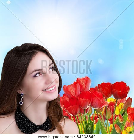 Young Beauty Happy Young Girl With Beautiful Garden Fresh Colorful Tulips