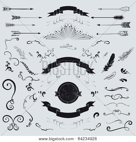 Decorative Elements Set: Arrows, Laurel, Feathers, Ribbons And Labels