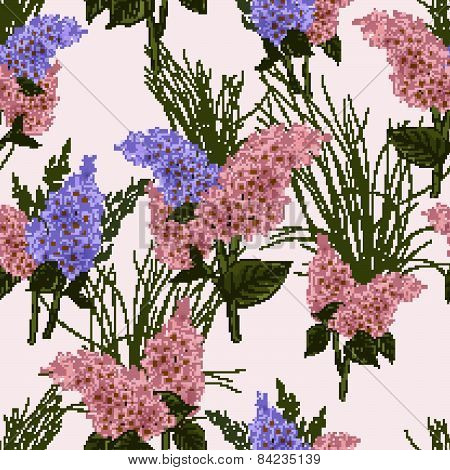 Seamless Floral Pattern With Lilac On Light Background