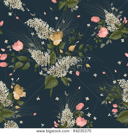 Seamless Floral Pattern With Roses And Lilac On Dark Background