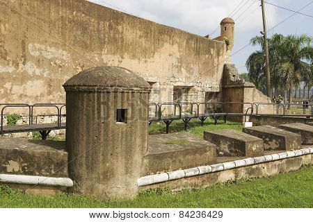 View to the exterior wall of the Ozama fortress in Santo Domingo, Dominican Republic.