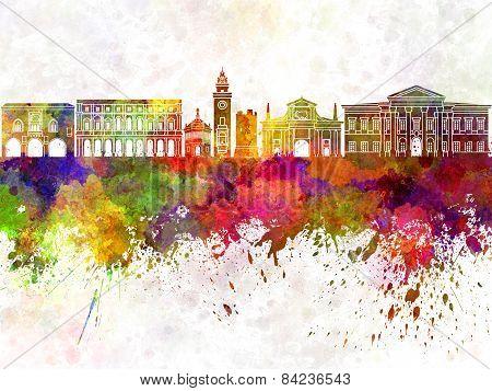 Bergamo Skyline In Watercolor Background