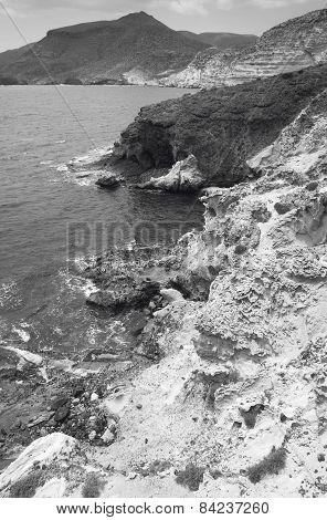 Mediterranean Rocky Coastline In Almeria. Spain
