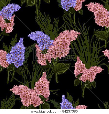 Seamless Floral Pattern With Lilac On Black Background